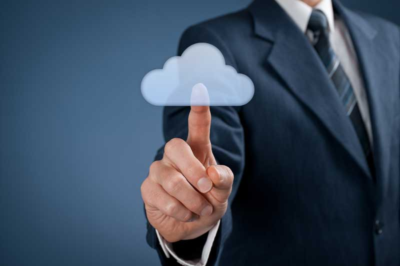 man pushing cloud button